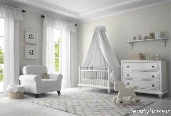 دیزاین اتاق نوزاد سفید