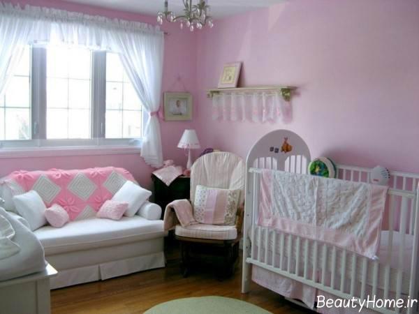 دیزاین صورتی اتاق نوزاد دخترانه