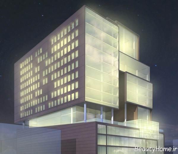 نمای زیبا ساختمان ده طبقه