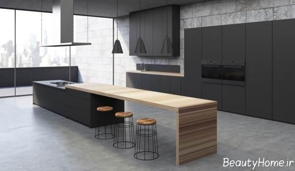 دکوراسیون آشپزخانه رنگ تیره