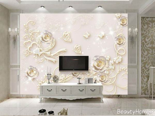 کاغذ دیواری پشت تلویزیون