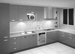 طراحی داخلی آشپزخانه نقره ای