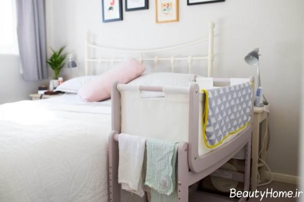 تخت خواب شیک نوزاد در کنار مادر