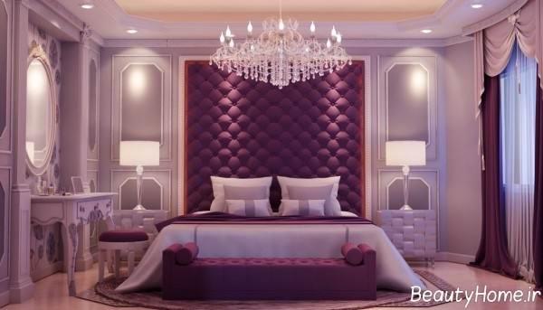 دیزاین داخلی اتاق خواب بنفش