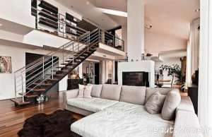 طراحی دکوراسیون خانه دوبلکس با رنگ های تیره و روشن