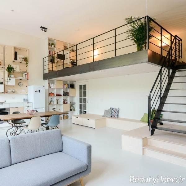 دکوراسیون رنگ روشن در خانه دوبلکس