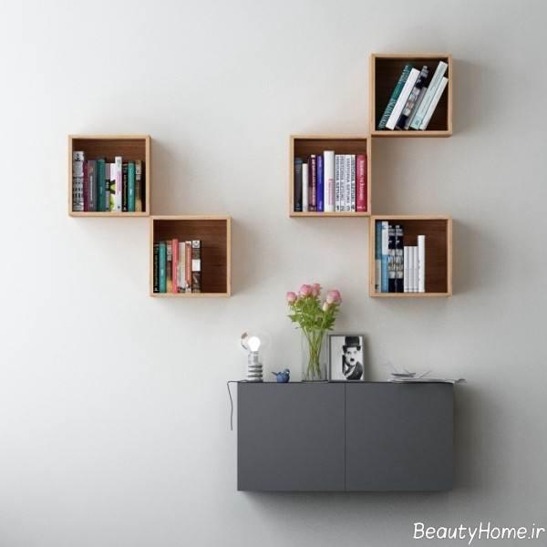قفسه کتاب دیواری زیبا و خاص