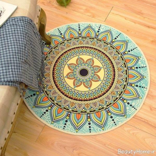 فرش گرد طرح دار