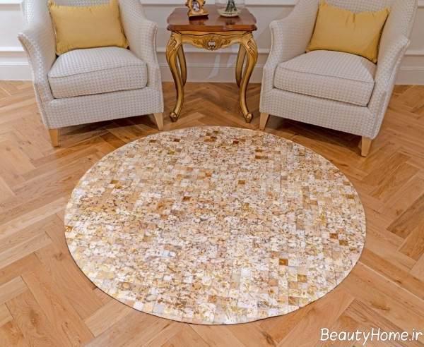 فرش گرد رنگ روشن