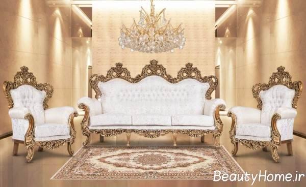 طرح مبل سلطنتی سفید