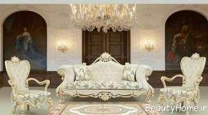 مدل مبل سلطنتی رنگ روشن و زیبا