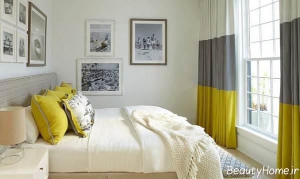 دکوراسیون زرد و طوسی اتاق خواب