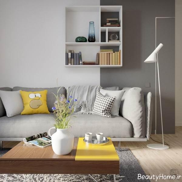اتاق نشیمن زرد و طوسی
