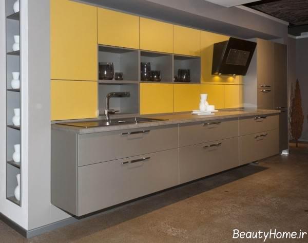 دکوراسیون طوسی و زرد آشپزخانه