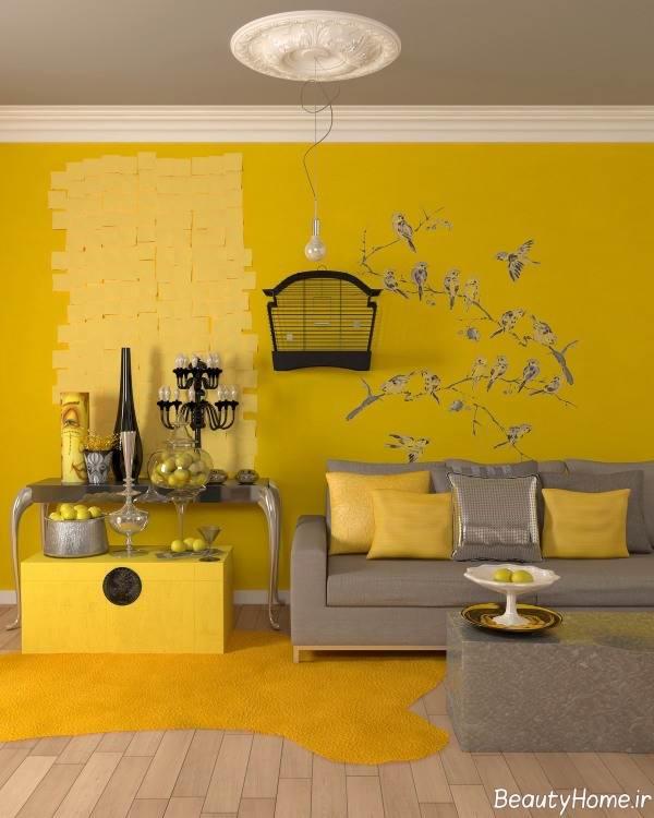 دکوراسیون داخلی نشیمن زرد و طوسی