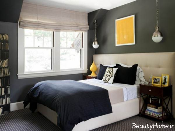 دکوراسیون داخلی اتاق خواب زرد و طوسی