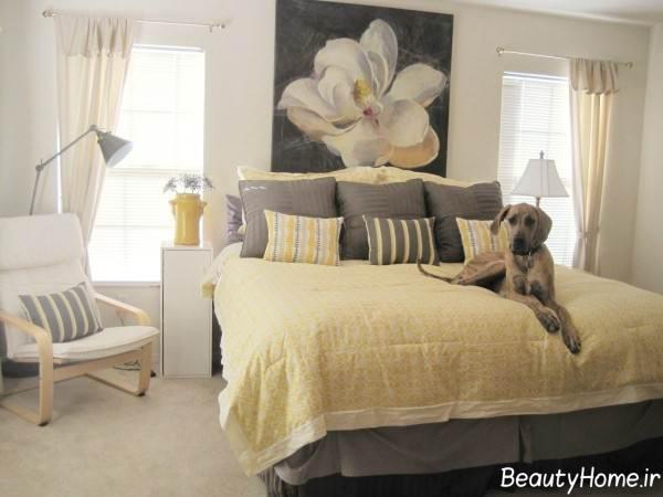اتاق خواب زرد و طوسی
