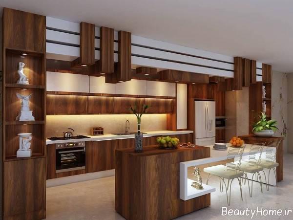 کابینت قهوه ای آشپزخانه