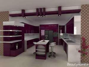 کابینت بنفش آشپزخانه