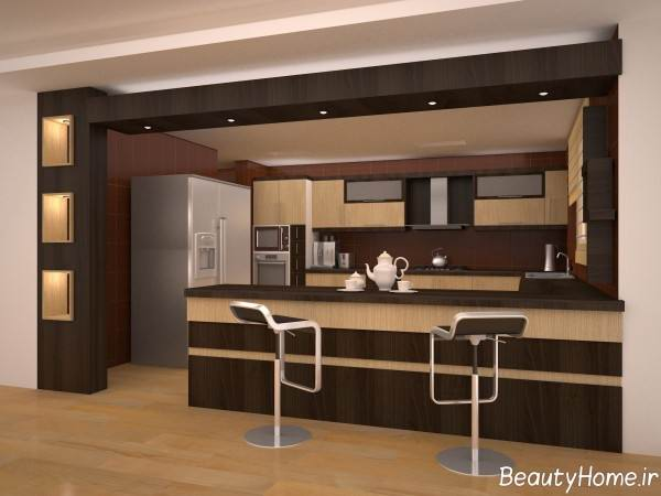 مدل کابینت دو رنگ آشپزخانه