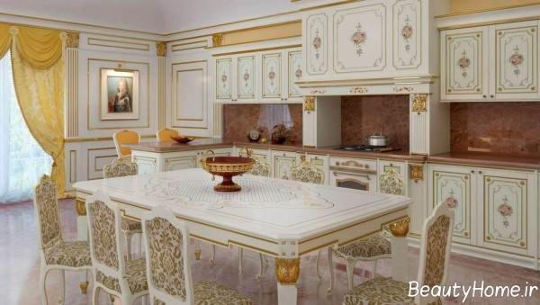 کابینت ایرانی سفید و طلایی
