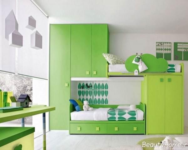 مدل اتاق خواب کودک با رنگ سبز