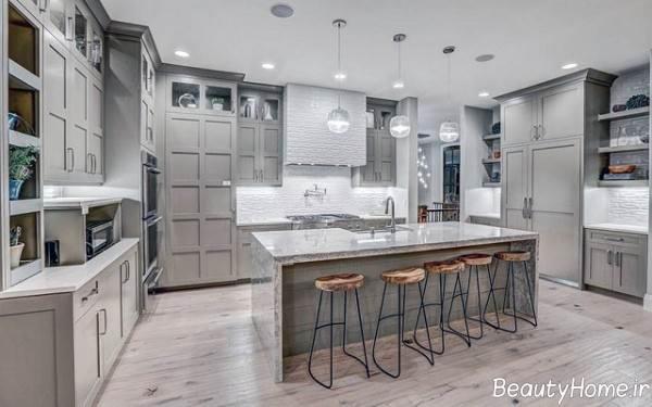 دکوراسیون زیبا و شیک آشپزخانه با سبک تلفیقی