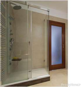 دکوراسیون داخلی حمام با درب شیشه