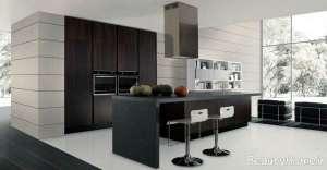کابنیت مدرن و رنگ تیره برای آشپزخانه