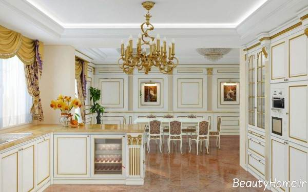مدل کابینت سفید و طلایی برای آشپزخانه
