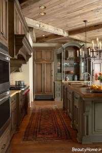 طراحی جدید آشپزخانه روستیک