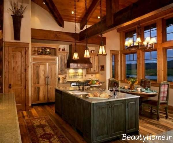دکوراسیون زیبای آشپزخانه روستیک