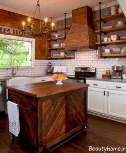 چیدمان زیبای آشپزخانه روستیک