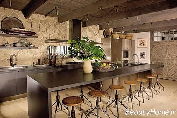 دیزاین شکیل و مدرن آشپزخانه روستیک