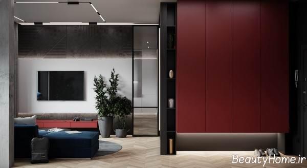 ترکیب رنگ قرمز و آبی در دیزاین منزل