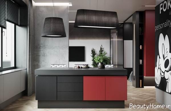 ترکیب رنگ خاکستری و قرمز در آشپزخانه