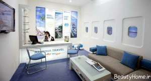 دکوراسیون سفید و آبی آژانس مسافرتی