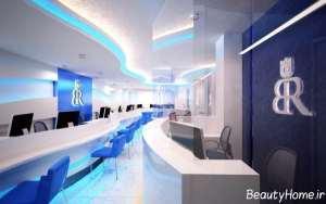 دکوراسیون سفید و آبی دفتر مسافرتی