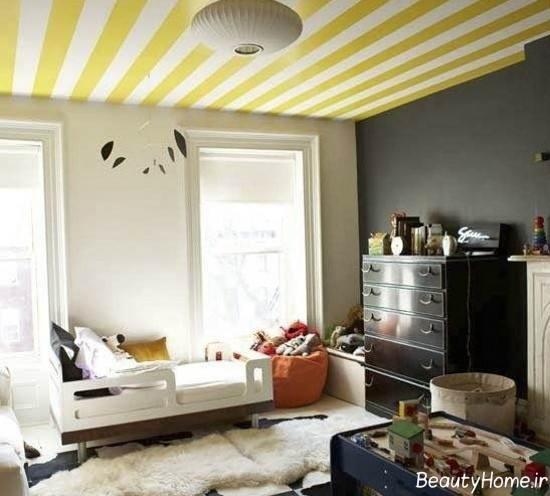 مدل رنگ آمیزی راه راه سقف منزل