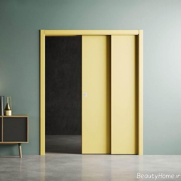 درب کشویی زرد