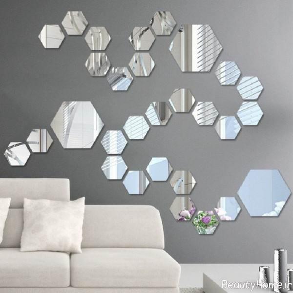 تزئین دیوار به کمک آینه کوچک و بزرگ