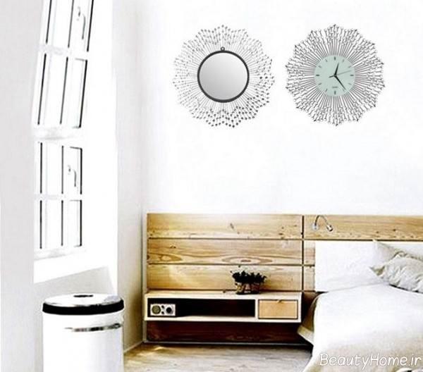 تزئین دیوار اتاق خواب با استفاده از آینه