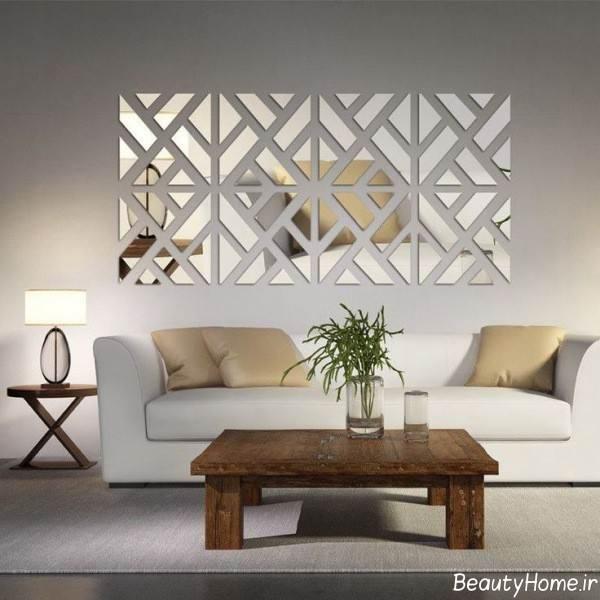 زیباسازی دیوار اتاق نشیمن با آینه