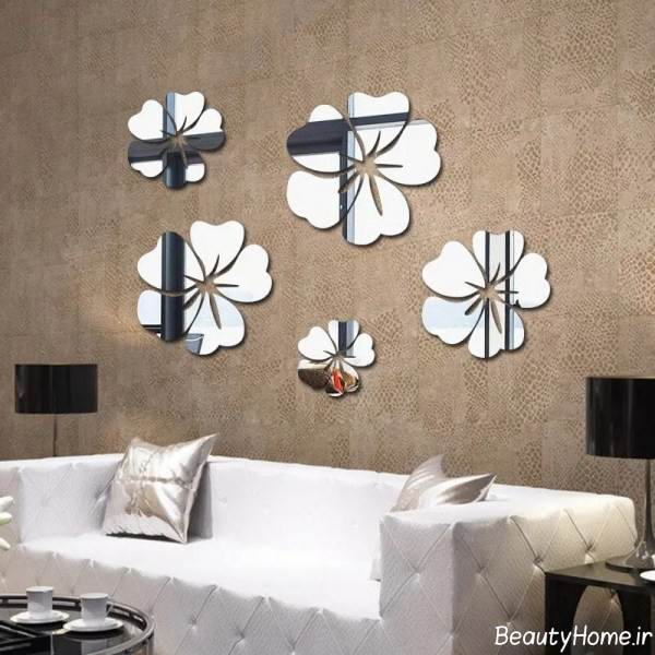 زیباسازی دیوار اتاق خواب با آینه