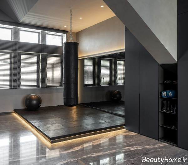 طراحی داخلی خانه آپارتمانی با رنگ تیره