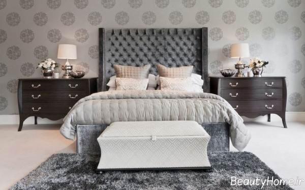 کاغذ دیواری طوسی برای اتاق خواب
