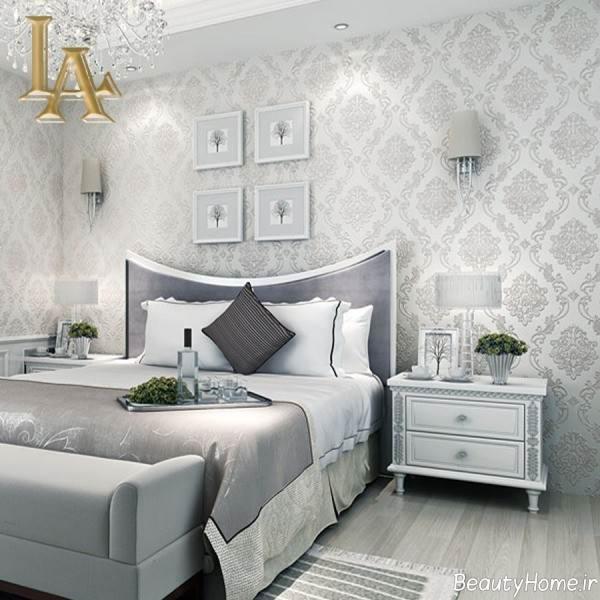 کاغذ دیواری خاکستری برای اتاق خواب