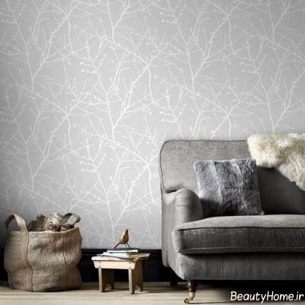 کاغذ دیواری خاکستری روشن