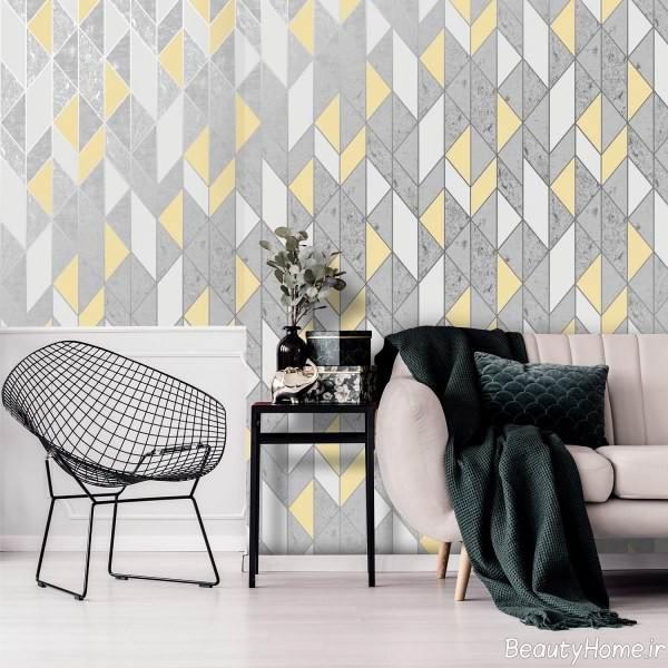 کاغذ دیواری خاکستری و زرد
