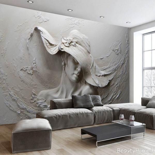 کاغذ دیواری سه بعدی طوسی